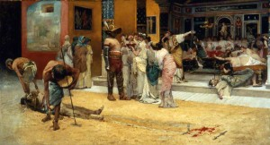 Francesco Netti. Gladiator Fight during a Meal at Pompeii ,1880. Museo di Capodimonte, Naples